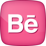 Behance social  icon active pink white