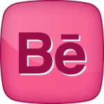 Behance social  icon hover pink
