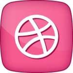 Dribble social  icon active pink white