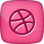 Dribble social  icon hover pink