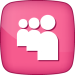 MySpace social  icon active pink white
