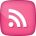 RSS  social  icon active pink white