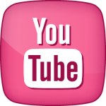 YouTube social  icon active pink white