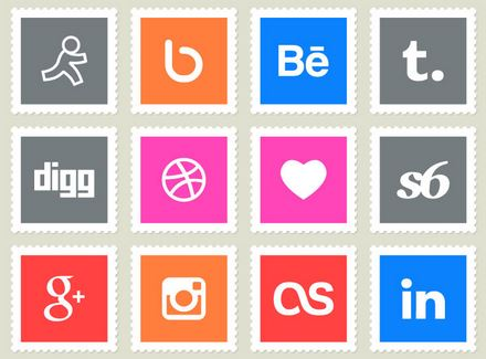 postage stamps style social media icons